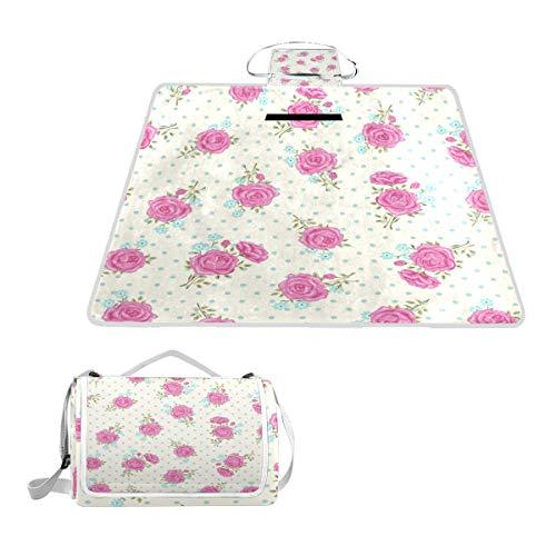 TIZORAX Picknickdecke mit pinkfarbenen Rosen und Blumen, wasserfest, für den Außenbereich, faltbar, Picknick-Matte für Strand, Camping, Wandern