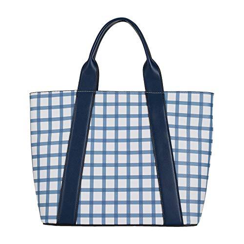 Parfois - Shopper Mit Schachbrettmuster - Damen - Größe L - Marineblau