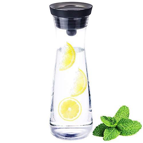 AMAYGA Jarra de Agua de Vidrio,1200ml Botella de Cristal y Tapa de Silicona,para Jugo Caliente/frío,té,Leche y café