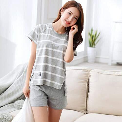 XFLOWR Paar Kurzarm-Pyjama-Sets Gestreift Komfortabel Komfortabel Weiche Hauskleidung...