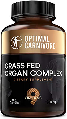 Grass Fed Organ Complex, Desiccated Beef Organs - Beef Liver, Brain, Heart, Thymus, Kidney, Spleen, Intestines, Pancreas, Lung, Ancestral Formula (180 Capsules) by Optimal Carnivore