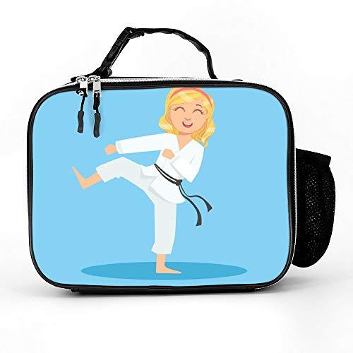 happygoluck1y meisje in wit kimono doen been zijtrap op karate lunch zakken geïsoleerde rits met zakken draagbare lunchbox voor vrouwen voor werk voor kinderen