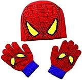 Conjunto Invierno Gorro y Guantes de Spiderman - simyron Invierno Gorro de Punto Guantes Niños Conjunto, Dibujos Animados Mantener Caliente GuanteGorro para cumpleaños Navidad año Nuevo Regalo