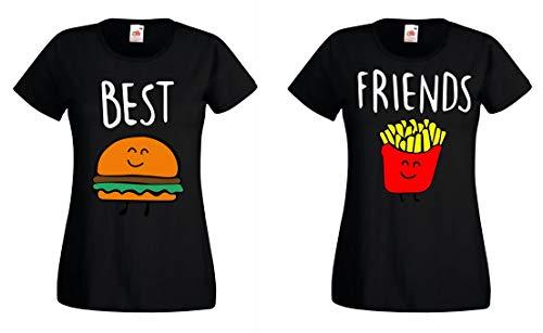 Burger & Pommes Best Friends Damen T-Shirt für Zwei Mädchen Beste Freunde BFF, Schwarz, Burger BF S + Pommes BF M