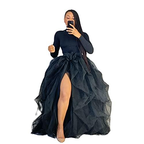 I3CKIZCE - Falda superpuesta de tul sexy para mujer, falda de princesa con abertura de malla de cintura alta, color liso, elegante, transparente, para fiesta, regalo, Negro , Talla única