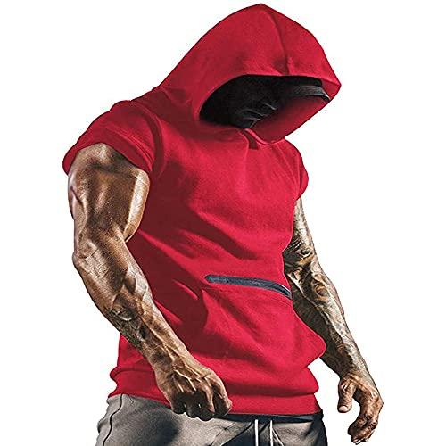 Camiseta sin mangas con capucha para hombre, sin mangas, gimnasio, músculos, culo, entrenamiento, camiseta con cremallera, bolsillo