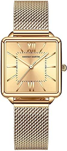 QHG Relojes para Mujeres Rosa Oro/Malla de Plata Correa de Acero Inoxidable Ocasional Reloj de Pulsera Impermeable para Damas con dial Cuadrado (Color : Gold)