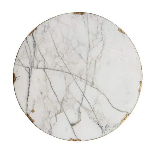 XXLCJ Vergulde dessertplaat keramiek marmer textuur ronde plaat voor het bewaren van sieraden