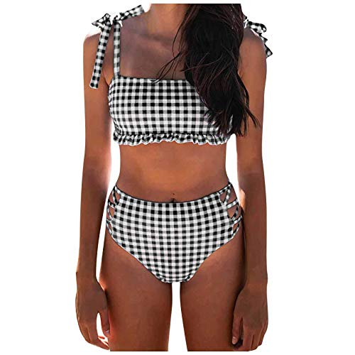 BIBOKAOKE Bikini de dos piezas para mujer, con tirantes finos, parte superior de talle alto, traje de baño para niñas, adolescentes, verano, ropa de baño