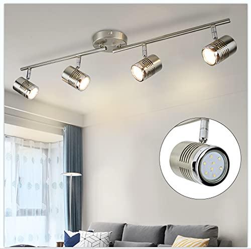 Depuley - Plafoniera a LED con 4 faretti su binario, orientabile, proiettore da soffitto GU10, applicabile per camera, soggiorno, cucina, sala da pranzo, corridoio e scale, lampadine incluse