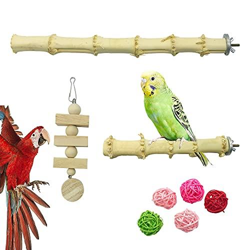 Allazone 8 Pz Perca de Pájaro, Perchas Naturales para Pájaros, Pájaro de Bambú Soporte de Perca, Juguetes para Pajaros Juguetes para Masticar Loros para Masticar Loros, Periquitos, Cacatúas