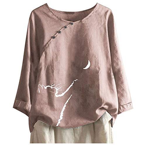 Top de moda para mujer, diseño de gato y luna, manga corta, varios colores, casual, cuello redondo, top de gran tamaño con botones sueltos