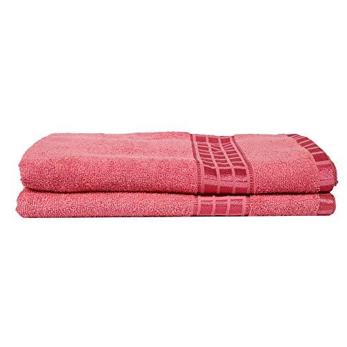 Eurospa Set of 2 Cotton Bath Towel Pink (SPDHFBT152PNS2)