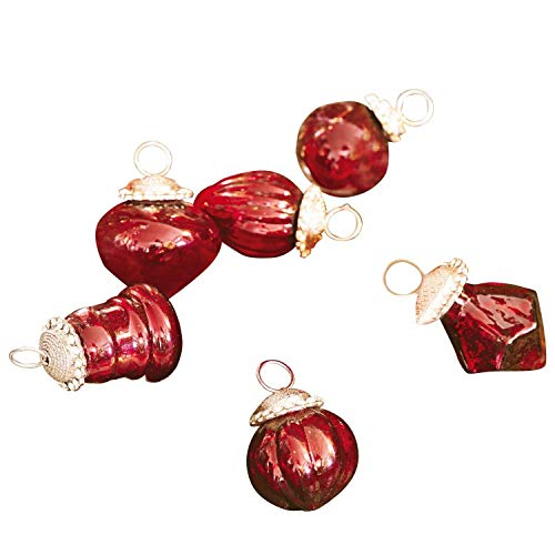 Loberon Weihnachtsschmuck 6er Set Levier, Glas, Metall, Ø 5 cm, rot