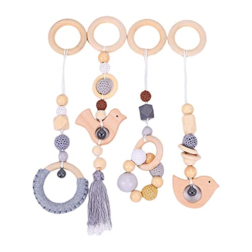 SUCHUANGUANG 4 Pieces/Set Baby Gym Frame Stroller Hanging Pendants Wooden Ring Teether Molar Toy GY Beech + Cotton Thread Hanging Pendant