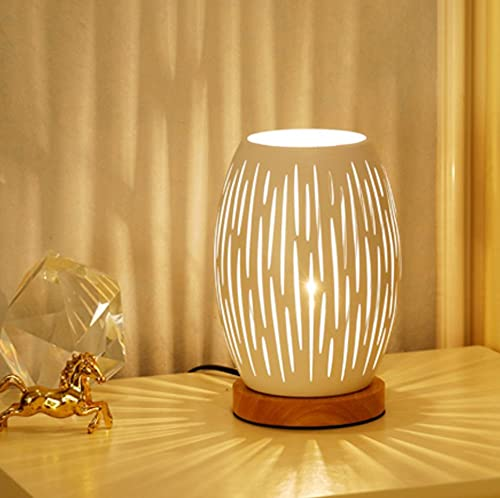 AFORTLO Table Desk Lamp, Boho Decorative Nightstand Night Light Wood Base Romantic Hollow-Carved Metal Cage Lamp Home Decor for Bedroom,Living Room,End Table or Office with Bulb (Vertical Stripe)