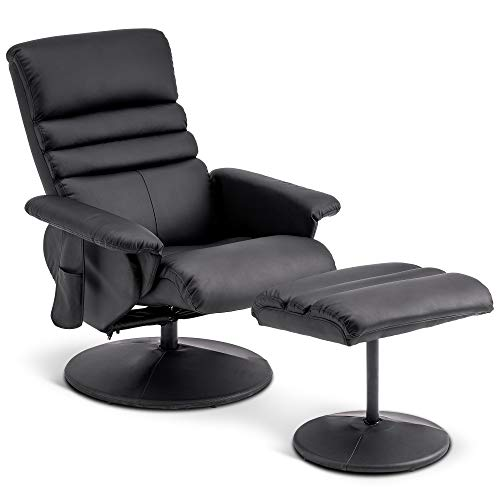 Mcombo Recliner with Ottoman, Reclining Chair with Massage, 360 Swivel Living Room...