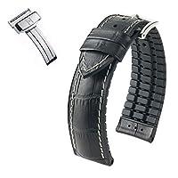 [HIRSCH]ヒルシュ 腕時計 革 ベルト ジョージ×Dバックルセット 4.ブラック 22mm 尾錠色:シルバー Dバックル色:シルバー