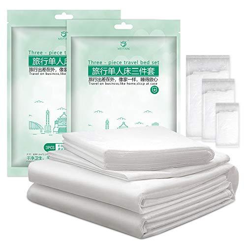 Set di biancheria da letto monouso ospedaliero in tessuto non tessuto portatile, lenzuolo usa e getta con copripiumino e federa per cuscino da viaggio Spa Medical (circa 1,8 x 2,1 m)