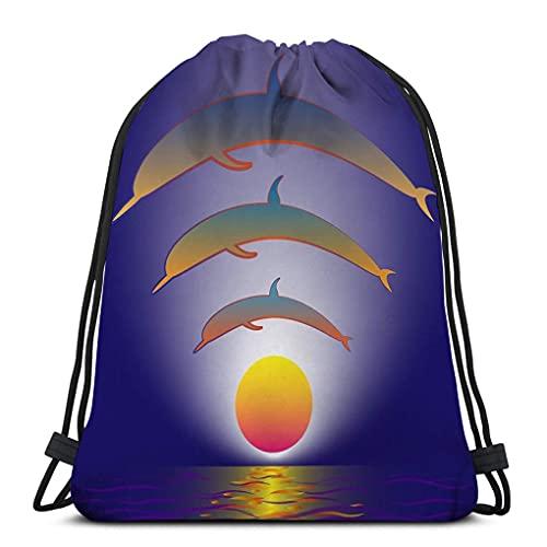 Gimnasio Bolsas con cordón Hombre Mujer Gimnasio Clásico Deporte Bolsa con cordón delfines Sunset produce efecto vertical wi fi icono Eléctrico