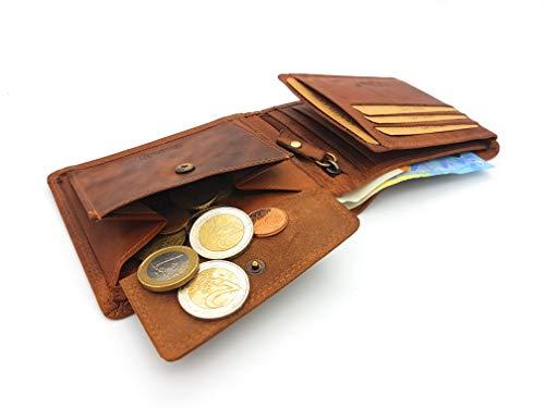 Flache echt Büffel Voll-Leder Geldbörse für Männer, naturbelassenes Hunterleder Portemonnaie mit RFID NFC Schutz