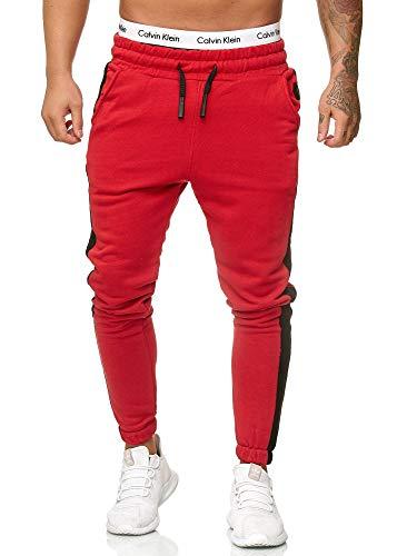 OneRedox Herren Jogging Hose Jogger Streetwear Sporthose Modell 1211 Rot L