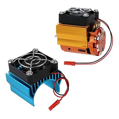 Sharplace 2pcs Modèle de Voiture Radiateur + 5V Ventilateur de Refroidissement à Grande Vitesse pour 1/10 RC Voiture 540/550