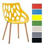CLP Chaise Retro Hailey en Plastique - Chaise Design Pieds en Bois d'Hêtre - Hauteur Assise 44 cm - Chaise de Salle à Manger Facile d'entretien - Couleur: Jaune