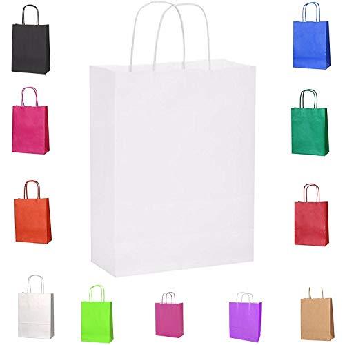Papiertüten mit Kordelhenkel, aus Kraftpapier, als Geschenktüten geeignet, in verschiedenen Farben und Größen erhältlich, 15 Stück, Kraft-Papier, weiß, XS