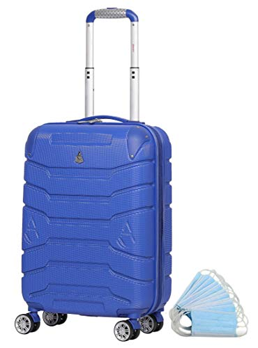 "Aerolite ABS Hard Shell Carry On Hand Cabin Luggage Suitcase with 4 Wheels (21"", Midnight Blue)"