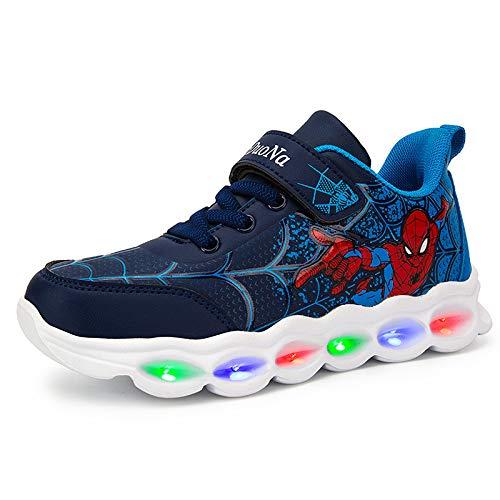 WEIR Zapatillas de Deporte para niños Spiderman Luminous Running Calzado Deportivo Ligero para niños,Blue-30EU