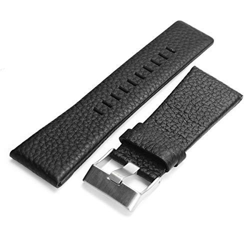 ROUHO Remplacement 22/24/26/27/28Mm Bracelet en Cuir pour Dz4210 Diesel-Noir 26mm