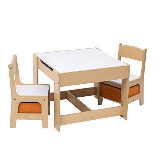E-starain Infantil de Mesa y Asientos para Niños Juego de Muebles para Niños, 1 Mesa Infantil con 2 Sillas Conjunto Escritorio y Sillas de Jardín LRGOI0002