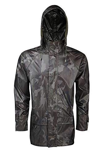 Style wise Fashion Wasserdichte Herrenjacke für Erwachsene, lange Ärmel, Reißverschluss vorne, Arbeitskleidung, Regenschutz Gr. XXL, grün