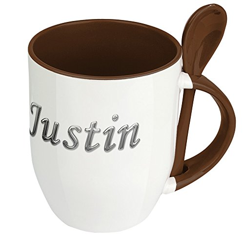 Namenstasse Justin - Löffel-Tasse mit Namens-Motiv Chrom-Schriftzug - Becher, Kaffeetasse, Kaffeebecher, Mug - Braun
