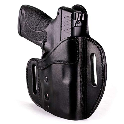 Urban Carry Lock Leather Hybrid OWB (Pancake) Molded Outside Waist Open/Conceal Carry Holster - Leather w/Kydex Advantage! (Black, 205 - Right Hand)