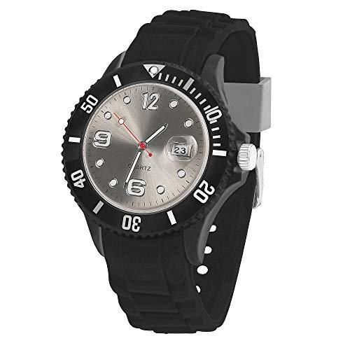 Taffstyle Damen Herren Sportuhr Armbanduhr Silikon Sport Watch Farbiges Ziffernblatt mit Datum Analog Quarz Uhr Schwarz Grau