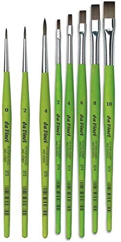 da Vinci Serie 374 Pennello Piatto, in Fibra Sintetica, Verde, Set 5pcs (2, 4, 6, 8, 10) e da Vinci Série 373 pennelli Rotondi Sintetici di da Vinci 0, 2, 4.