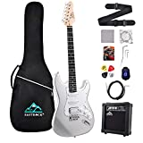 Eastrock 39 inch Full Size Electric Guitar Kit for Beginner Starter with 10w Amplifier, Bag, Capo,Shoulder Strap, String,Cable, Tuner,Picks (Gray)