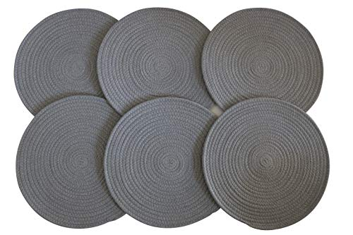 xiujuan Round Cotton Sewing Placemats 100 Cotton 15-Inch Natural Set of 6 pcs Black Placemats Gray Placemats White Placemats Gray