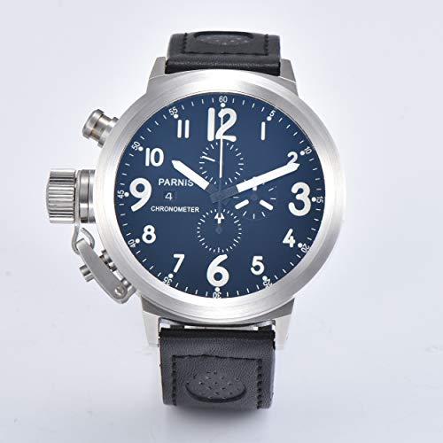 KLMWDSB 50mm Horloge Japan Chronograaf Volledige Functie Quartz Beweging Lederen Band 316L RVS Case
