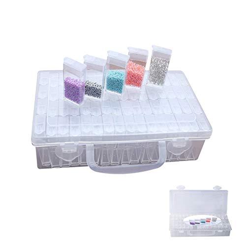Opbergdoos van kunststof met 64 vakken in stevige opbergdoos. Jewellery Organizer Diamond Painting Box voor nagels strass kralen DIY handwerk