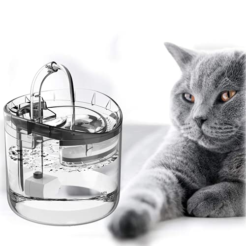 Lacyie Fuente Automática para Gatos,1.8L Bebedero Gatos Silenciosa para Mascotas con LUZ, 3 Modos de Agua Inteligente LED Dispensador de Agua para Mascotas de Apagado Automático,Fuentes con Filtros