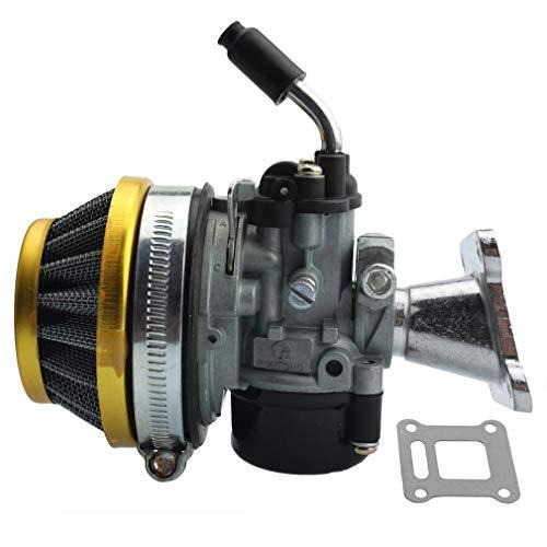 GOOFIT Carburador 19 Pz19 Moto Con Filtro Aire 35mm Rendimiento Reemplazo Para 2 Tiempos 47cc 49cc Mini Quad Pit Bike Motor Ciclomotor Y Scooter Plata