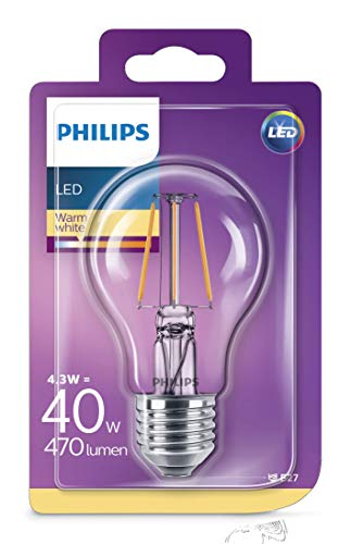 Philips Led-classic lamp, vervangt 40 W, E27, warmwit (2700 K), 470 lumen, dimbaar