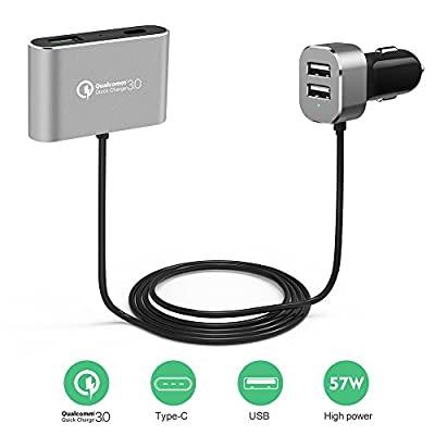 Seenda Backseat Car Charger, 57W 4 Port USB Car Charger(1*Quick Charge 3.0 + 1*Type C Port+ 2 * USB Port) 5FT Extension Cable, Compatible for Samsung Galaxy, LG, Google Pixel, MacBook and More
