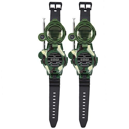 ViaGasaFamido Simulation Walkie-Talkie Toy, 2Pcs Digital Watch Walkie-Talkie Military Watch Outdoor Walkie-Talkie Toy for Children Gift