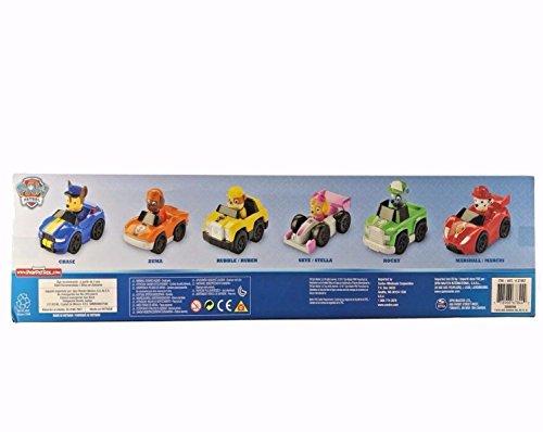Pack de 6 Paw Patrol Racers, Set de coches Patrulla Canina que incluye Chase, Zuma, Rubble, Skye, Rocky y Marshall Racers NUEVA EDICIÓN 2017
