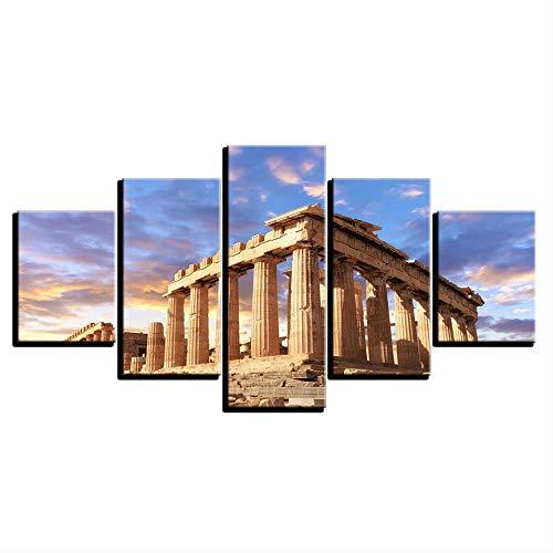 DGGDVP Cuadros de Lienzo Inicio Arte de la Pared Marco Decoración 5 Piezas Acrópolis Partenón Templo Edificio Pinturas de paisajes Impresiones en HD Carteles tamaño 1 sin Marco