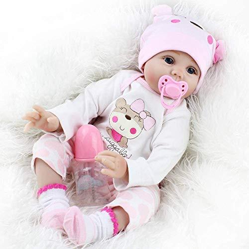 Realista Vinilo de Silicona Reborn Bebé 22 Recién Pulgadas Muñecos Bebé Recién Nacidos Niña Muñeca Regalo de Cumpleaños